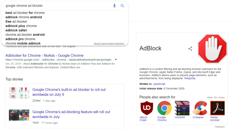 Google Search Results and Knowledge Panel for AdBlocker'