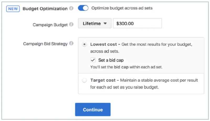 set bid caps and spend limits with Facebook campaign budget optimization