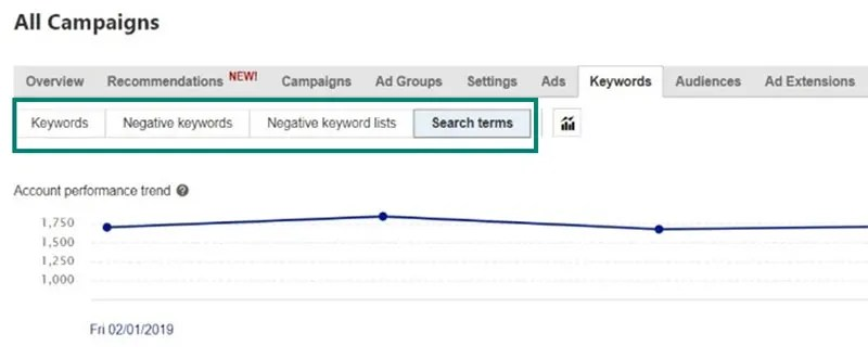 Bing Ads new search terms button under all campaigns keyword tab