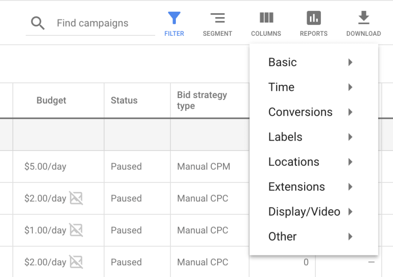 New Reporting icon above the statistics table in Google Ads