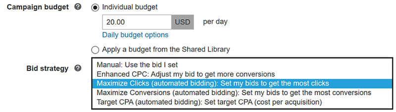 Bing Ads Campaigns settings with Bid Strategy