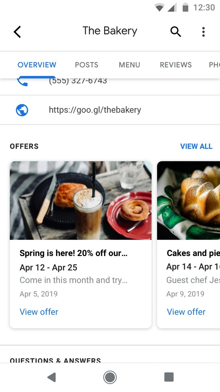 Google My Business Offers Carousel