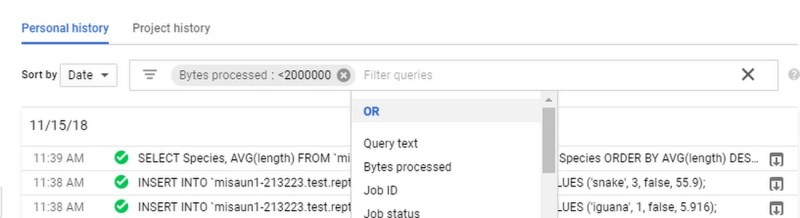Google allows sharing BigQueries