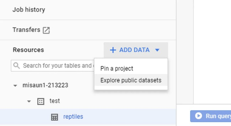 Add Google Cloud Public Dataset into BigQuery