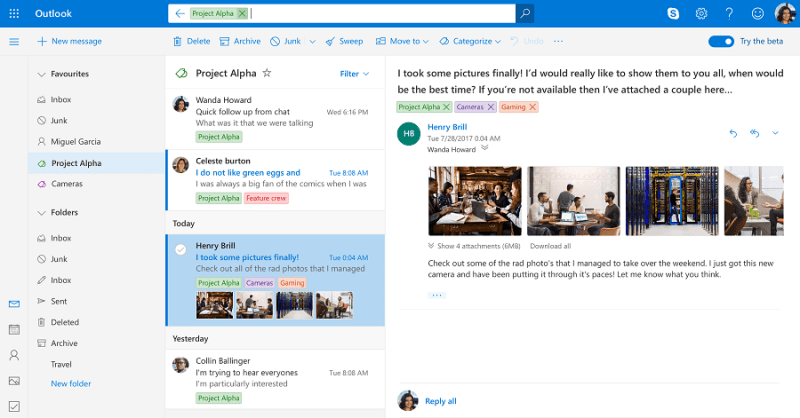 Improved category organization in Outlook
