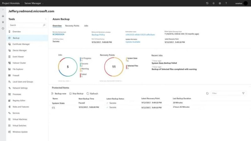 Project Honolulu management dashboard for Azure Backup in Windows Server 2019 Preview