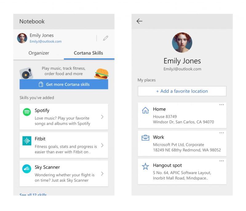 Cortana Profile Page