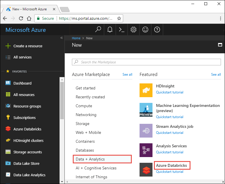 Azure Databricks workspace