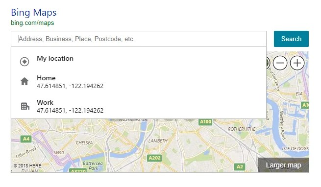 Bing Maps enriched Simple Maps Queries