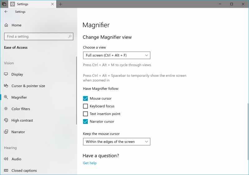 Manifier Settings in Windows 10 build 17643