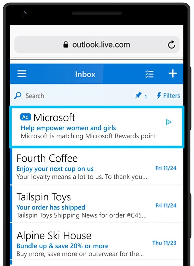Responsive Microsoft Audience Network on Outlook.com