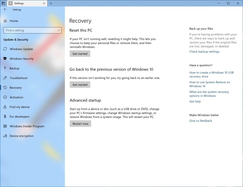 Recovery Settings FAQ on Bing.com