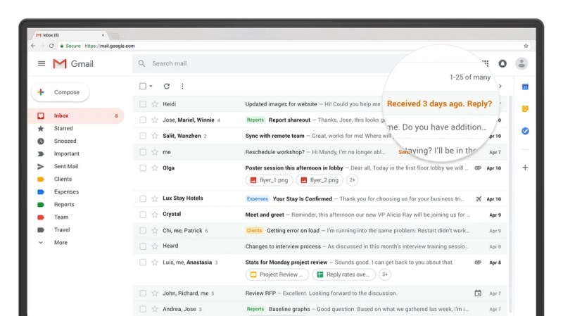 Nudging in new Google Gmail