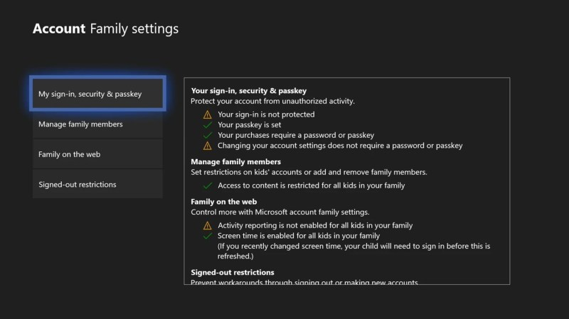 Improved Xbox One Family Setting Page