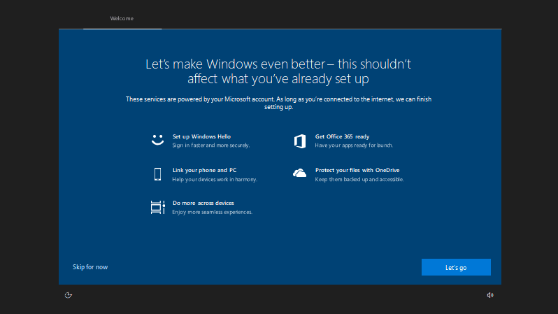 Post-upgrade setup screen in Windows 10 RS5 Build 17682