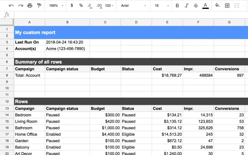 Google AdWords Spreadsheet Add-on Final Report