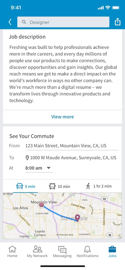 See Your Commute on LikedIn Jobs