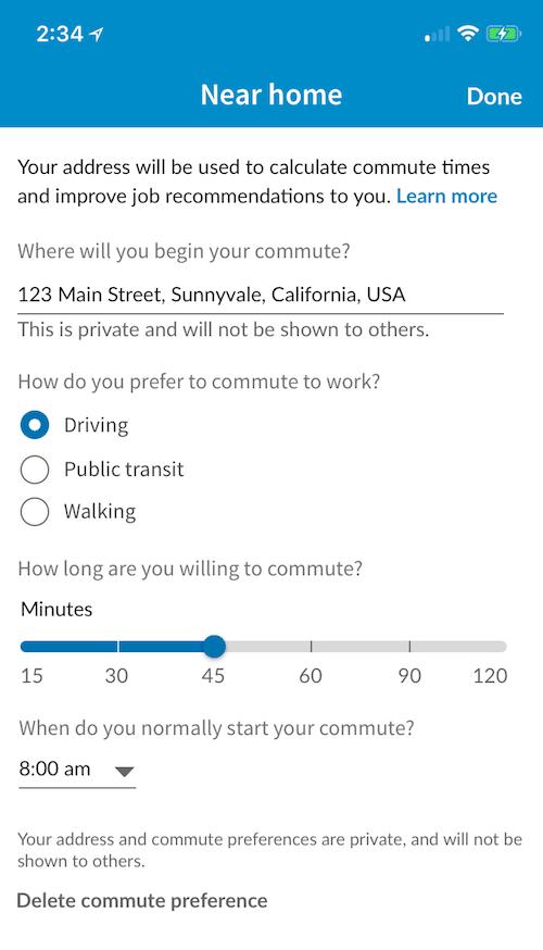 Calculating commute time on LinkedIn Job