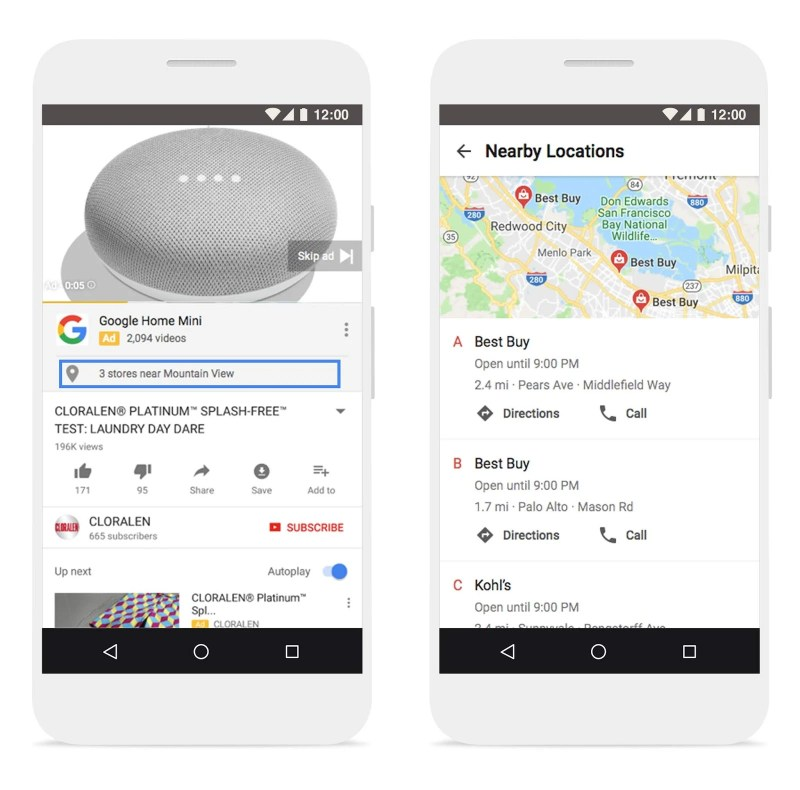 Google AdWords affiliate location extensions to video campaigns on YouTube