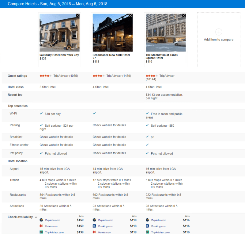 Comparison view on hotel booking on Bing