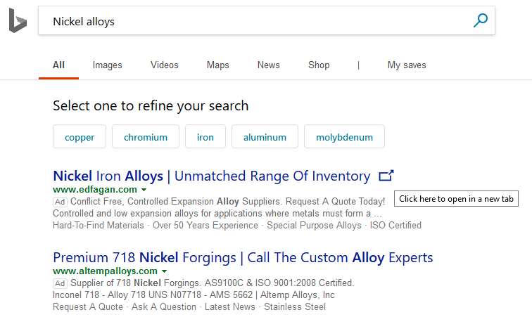 Bing Search Open in a new Windows icon