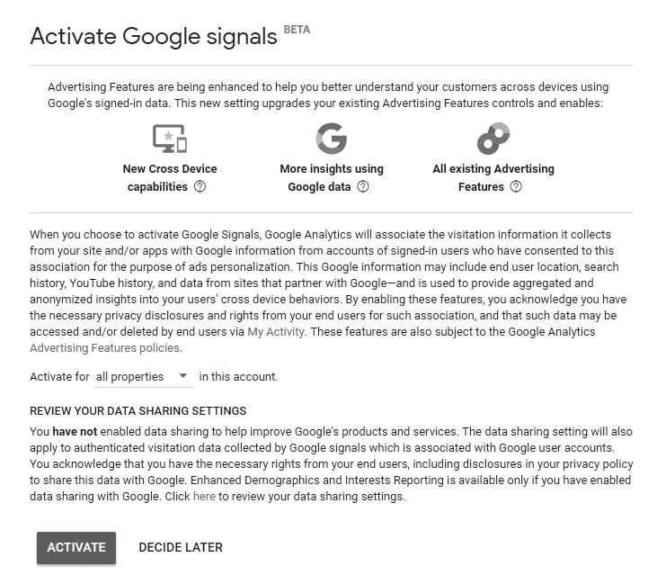Activayte Google Signals