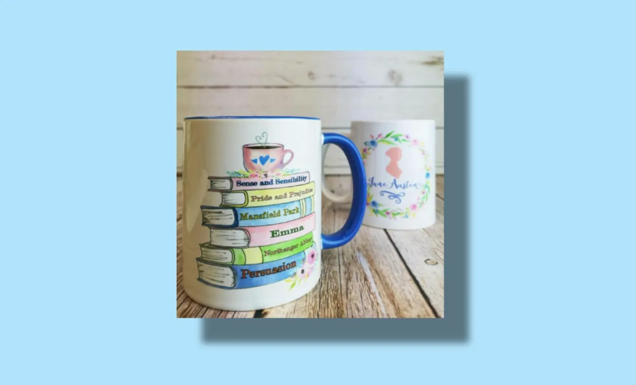 Mug decorated with book titles