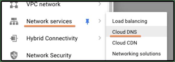 Access the Cloud DNS Console