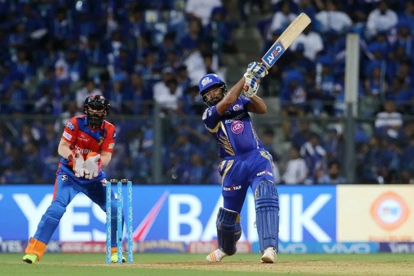 Mumbai Indians captain Rohit Sharma plays a shot during match 16 of the Vivo 2017 Indian Premier League between the Mumbai Indians and the Gujarat Lions held at the Wankhede Stadium in Mumbai, India on the 16th April 2017 Photo by Vipin Pawar - IPL - Sportzpics