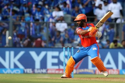 Dinesh Karthik of the Gujarat Lions plays a shot during match 16 of the Vivo 2017 Indian Premier League between the Mumbai Indians and the Gujarat Lions held at the Wankhede Stadium in Mumbai, India on the 16th April 2017 Photo by Vipin Pawar - IPL - Sportzpics