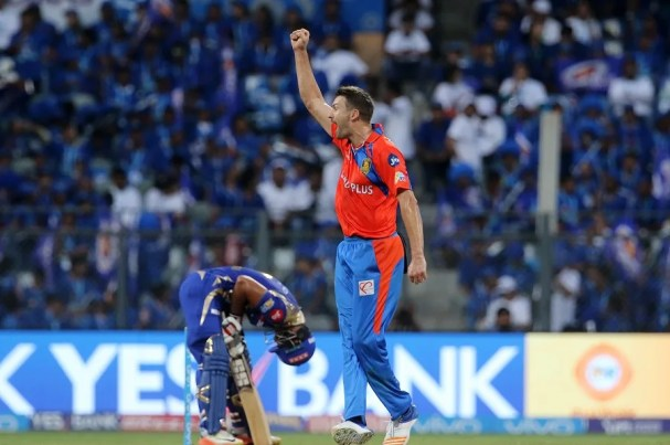 Andrew Tye of the Gujarat Lions celebrates the wicket of Nitish Rana of the Mumbai Indians during match 16 of the Vivo 2017 Indian Premier League between the Mumbai Indians and the Gujarat Lions held at the Wankhede Stadium in Mumbai, India on the 16th April 2017 Photo by Vipin Pawar - IPL - Sportzpics