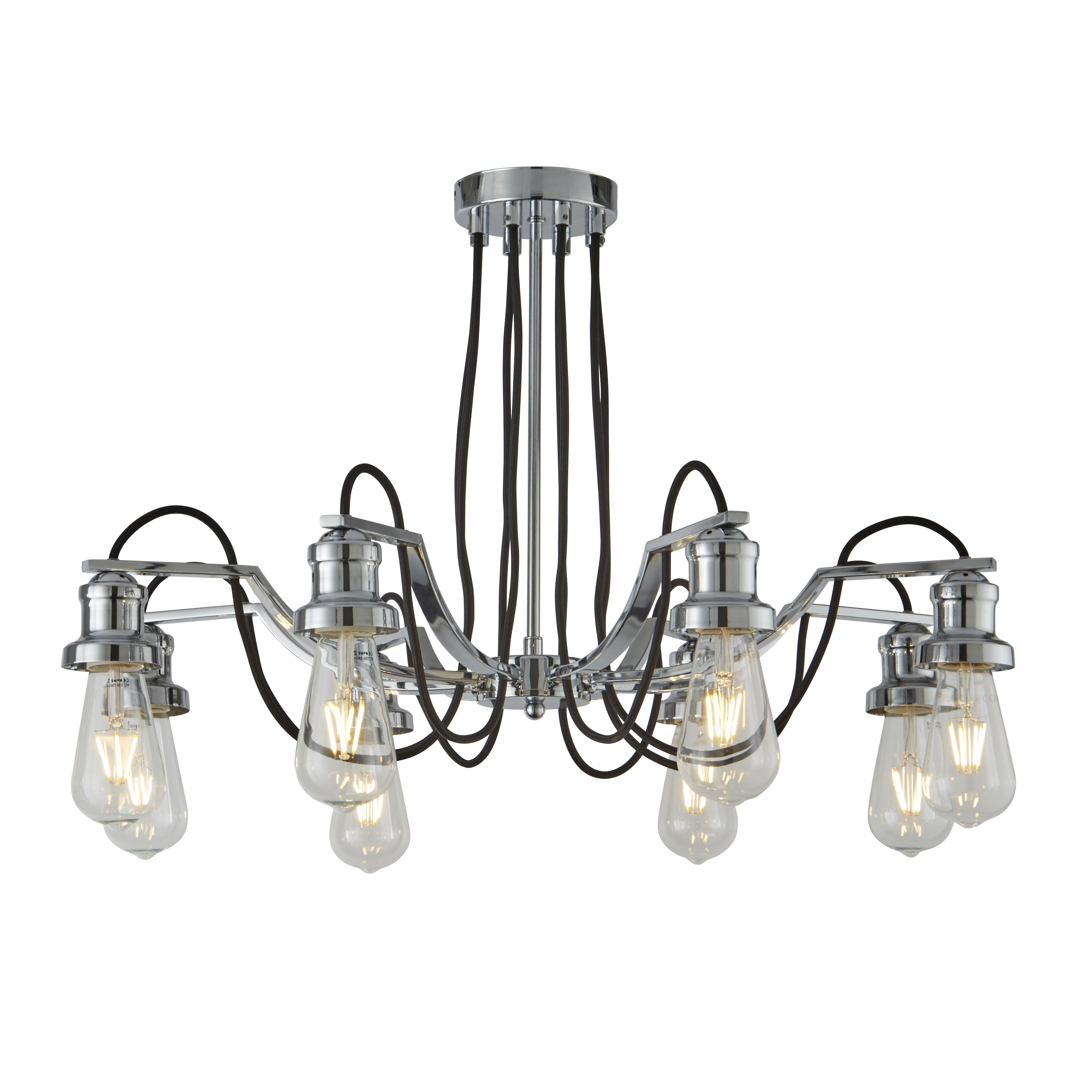 Olivia 8 Light Ceiling Fitting Black Braided Fabric Cable