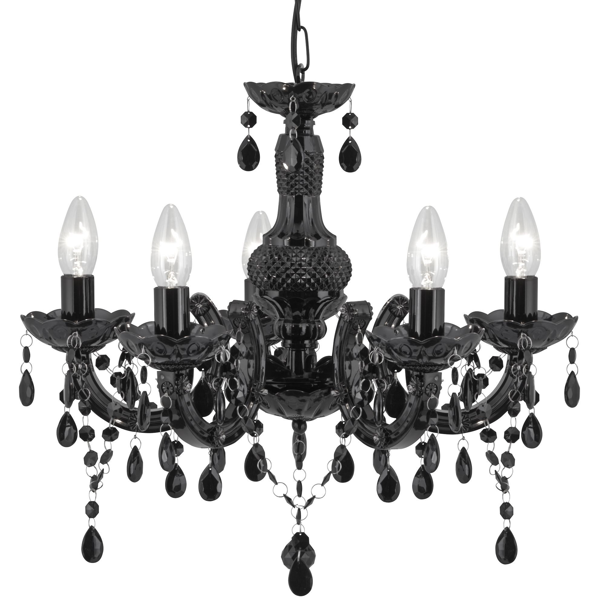 Marie Therese Black 5 Light Chandelier With Acrylic Glass
