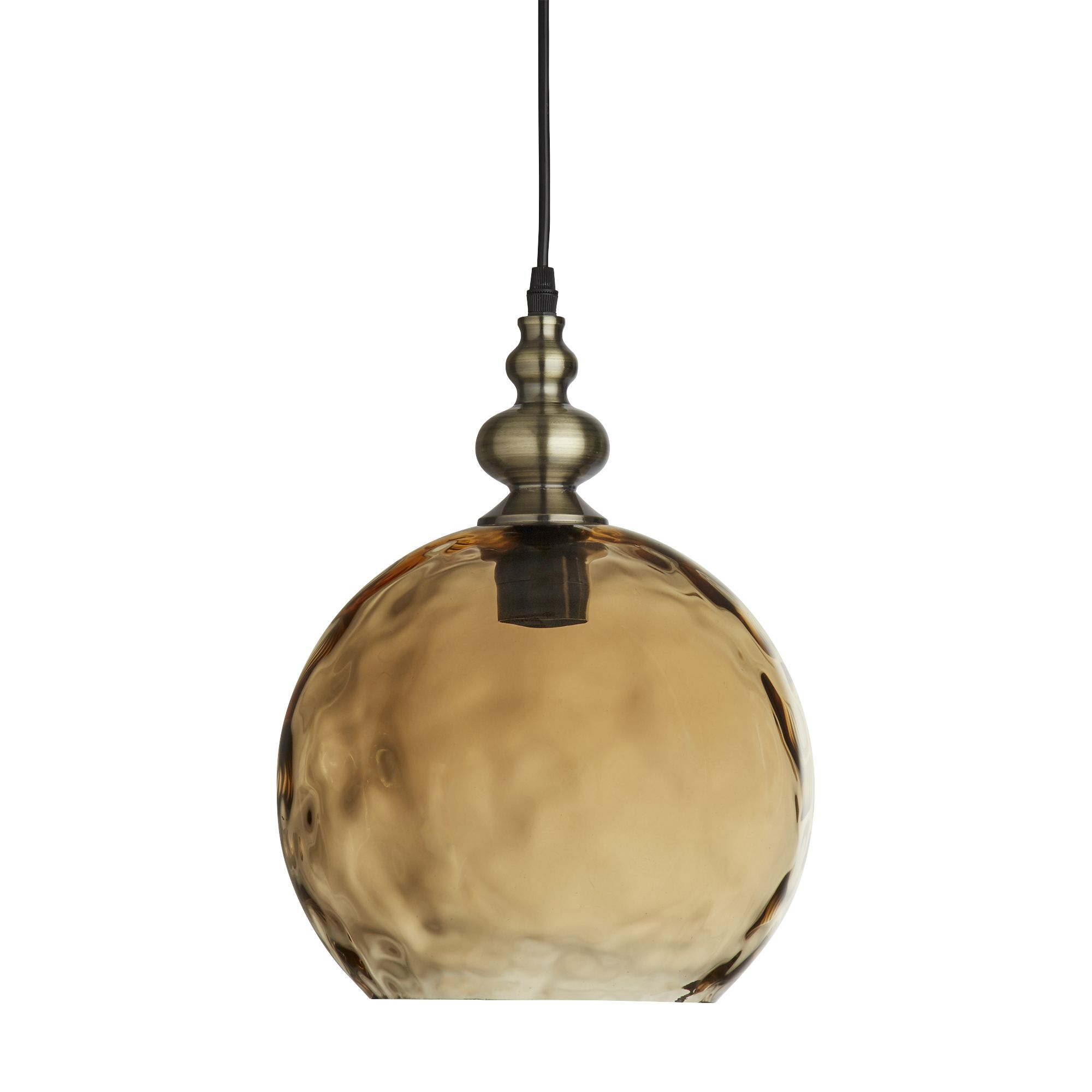 Indiana Antique Brass Globe Pendant Light With Dimpled Glass Shade