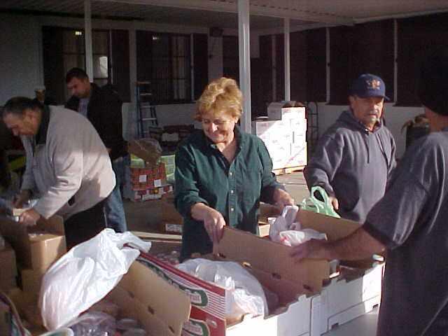 Preparing bags for food distribution Dec. 2013
