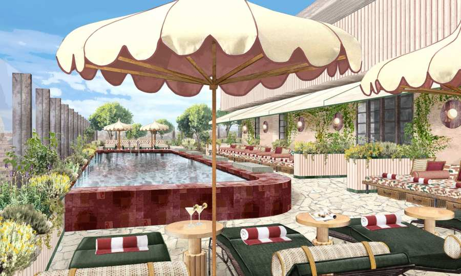 Soho House Rome rooftop pool with lounge chairs and umbrellas