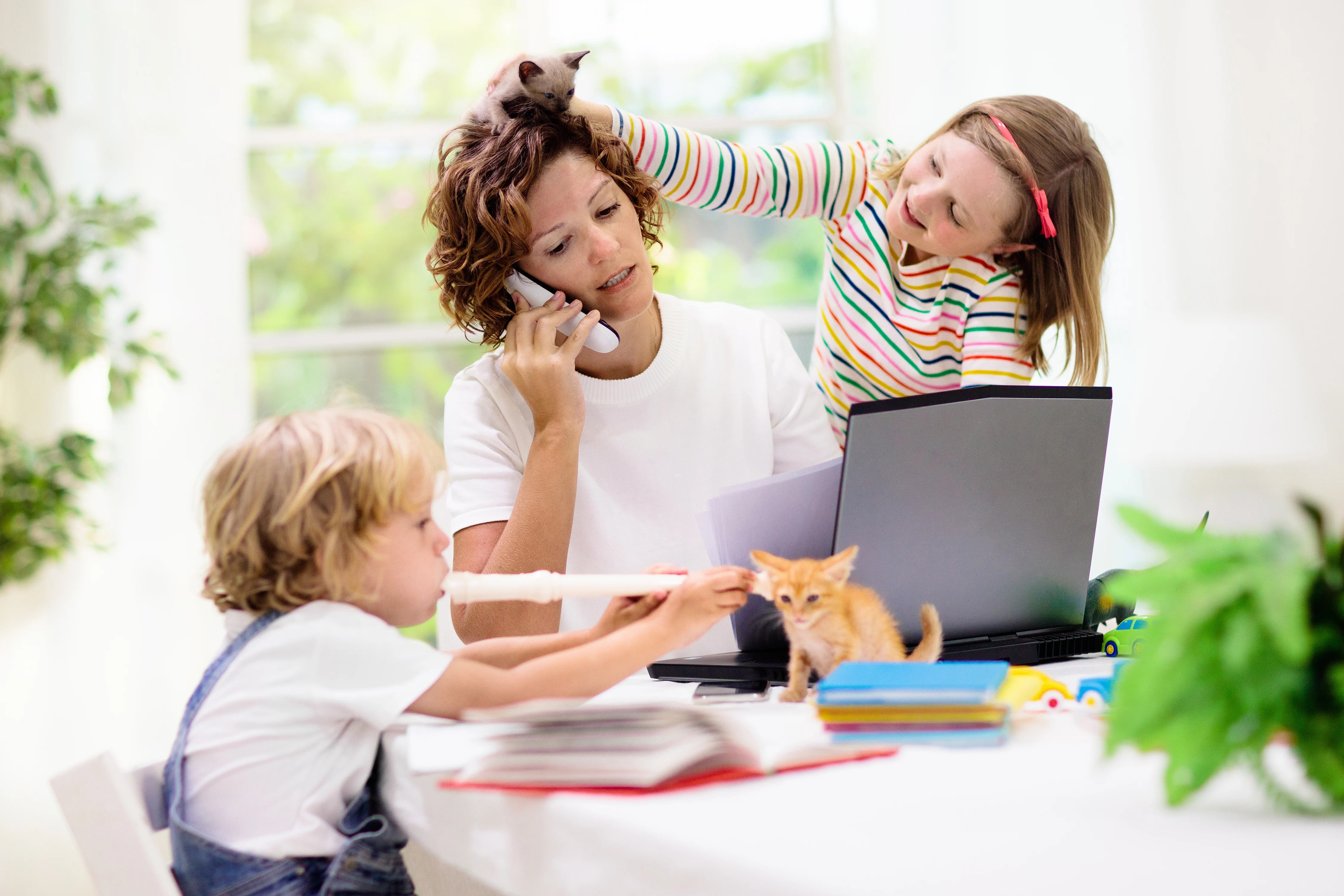 Mother Trying to Work From Home With Two Kids