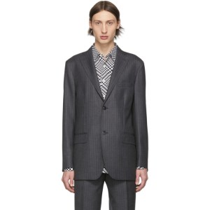 Cobra S.C. Grey Pinstripe Notched Lapel Blazer