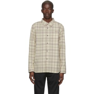 LHomme Rouge Off-White and Brown Work Overshirt