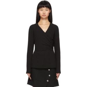Tibi Black Crepe Structured Shirred Blouse