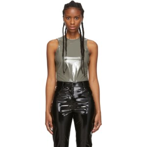 Tibi Grey Tech Patent Bodysuit