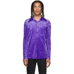 Sankuanz Purple Velour Metal Collar Shirt