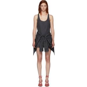 Alexander Wang Black and Grey Poplin Tie Waist Bodysuit