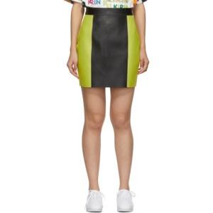 Kirin Black and Yellow Colorblocked Leather Miniskirt