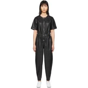 Aeron Black Faux-Leather Dilone Jumpsuit