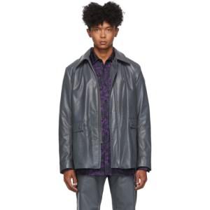 Dries Van Noten Grey Faux-Leather Jacket