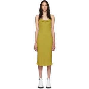 Eckhaus Latta Yellow Beaded Cowl Neck Dress