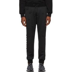 Dolce and Gabbana Black Bonded Millennial Star Sweatpants