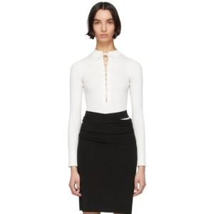 Kiki de Montparnasse White Deep V Lace-Up Bodysuit