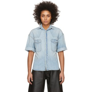 R13 Blue Denim Oversized Cowboy Short Sleeve Shirt